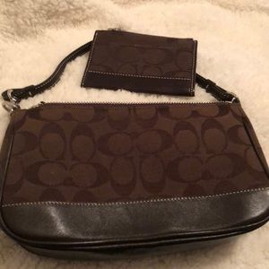 Chocolate brown coach purse with wallet